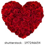Stock photo heart of red roses 197246654