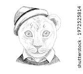 hand drawn portrait of lion... | Shutterstock .eps vector #1972525814