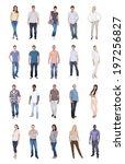 collage of multiethnic people... | Shutterstock . vector #197256827