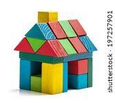 house toy blocks isolated white ... | Shutterstock . vector #197257901