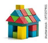 house toy blocks isolated white ...