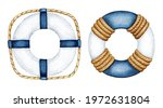 Watercolor Blue White Life Buoy ...