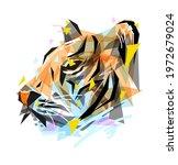 tiger face illustration in low...   Shutterstock .eps vector #1972679024