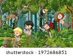 forest scene with many children ... | Shutterstock .eps vector #1972686851