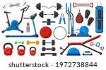 gym fitness equipment. sport...   Shutterstock .eps vector #1972738844