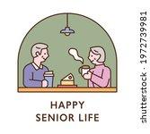 a senior couple is eating... | Shutterstock .eps vector #1972739981