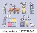 an old man who can't remember... | Shutterstock .eps vector #1972740767