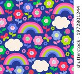 colorful cute hand drawn floral ... | Shutterstock .eps vector #1972801244
