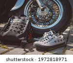 Gray Sneakers With Skulls And...