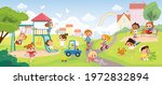 children playing in the park.... | Shutterstock .eps vector #1972832894