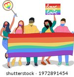 gay parade.people hold signs ...   Shutterstock .eps vector #1972891454