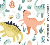 cute dinosaur colorful seamless ... | Shutterstock .eps vector #1972995854