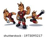 horse cartoon mascot for soccer ... | Shutterstock .eps vector #1973095217