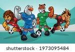 set of mascot animals for soccer | Shutterstock .eps vector #1973095484
