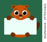 cute beaver with big eyes....   Shutterstock .eps vector #1973111621