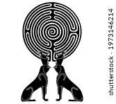 symmetrical animal design. two... | Shutterstock .eps vector #1973146214