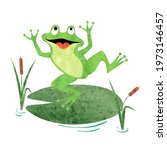 cartoon cute frog on lily pad....   Shutterstock .eps vector #1973146457