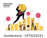 man climbs chart  and carries... | Shutterstock .eps vector #1973223131