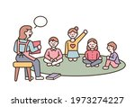 the teacher is teaching and the ...   Shutterstock .eps vector #1973274227