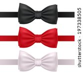 Set of bow ties isolated on white background - red, black and white.