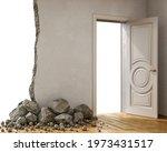 destroyed wall and fallen...   Shutterstock . vector #1973431517