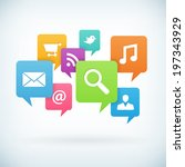internet concept icons on... | Shutterstock .eps vector #197343929