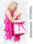 elegant blonde girl with pink... | Shutterstock . vector #19734451