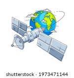 communication satellite flying...   Shutterstock .eps vector #1973471144
