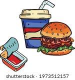 burger  cheeseburger and paper... | Shutterstock .eps vector #1973512157