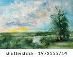 Dawn Field Tree Painting Gouache