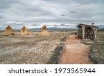 Panoramic View Of Straw Teepee...