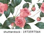 vintage flowers. roses seamless ... | Shutterstock .eps vector #1973597564