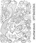 mermaid coloring page.... | Shutterstock .eps vector #1973633261