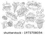 fast food doodle set. donut hot ...   Shutterstock .eps vector #1973708054