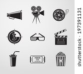 cinema  movie  icons set with   ... | Shutterstock .eps vector #197391131