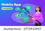 mobile app development concept...