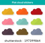 set of 9 colorful cloud...