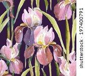 pink iris seamless pattern | Shutterstock . vector #197400791