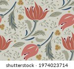 red tulip flowers on light...   Shutterstock .eps vector #1974023714