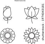 flower icons set isolated on... | Shutterstock .eps vector #1974043181