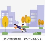 young man on electric scooter...   Shutterstock .eps vector #1974053771