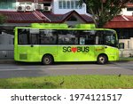 Small photo of SINGAPORE - 9 MAY 2021. An SMRT shuttle bus brings Lentor residents to and fro the Yio Chu Kang subway. Shuttle bus services are niche services transporting the local community to nearby amenities.