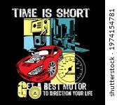 time is short slogan with... | Shutterstock .eps vector #1974154781