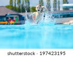 happy boy kid jumping in the... | Shutterstock . vector #197423195