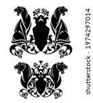 two roaring panthers and...   Shutterstock .eps vector #1974297014