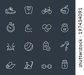 fitness icons | Shutterstock .eps vector #197434091