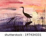 Heron In The Water At Dusk