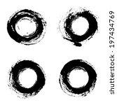 set of vector round grunge... | Shutterstock .eps vector #197434769