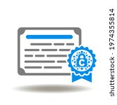 certificate with stamp and lock ... | Shutterstock .eps vector #1974355814
