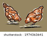 Two Chickens Peck At The Grass. ...